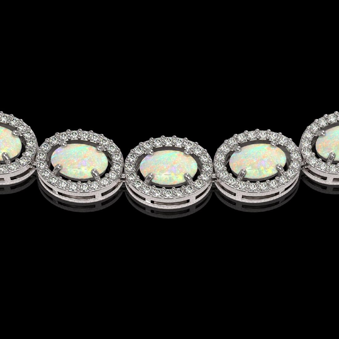 21.21 CTW Opal & Diamond Halo Necklace 10K White Gold - 3