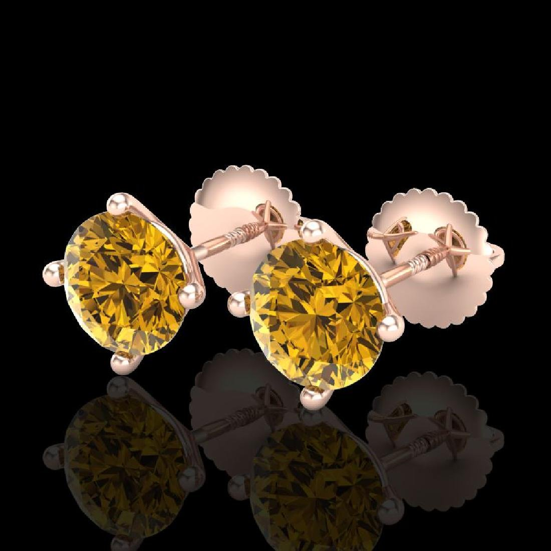 2 CTW Intense Fancy Yellow Diamond Art Deco Stud