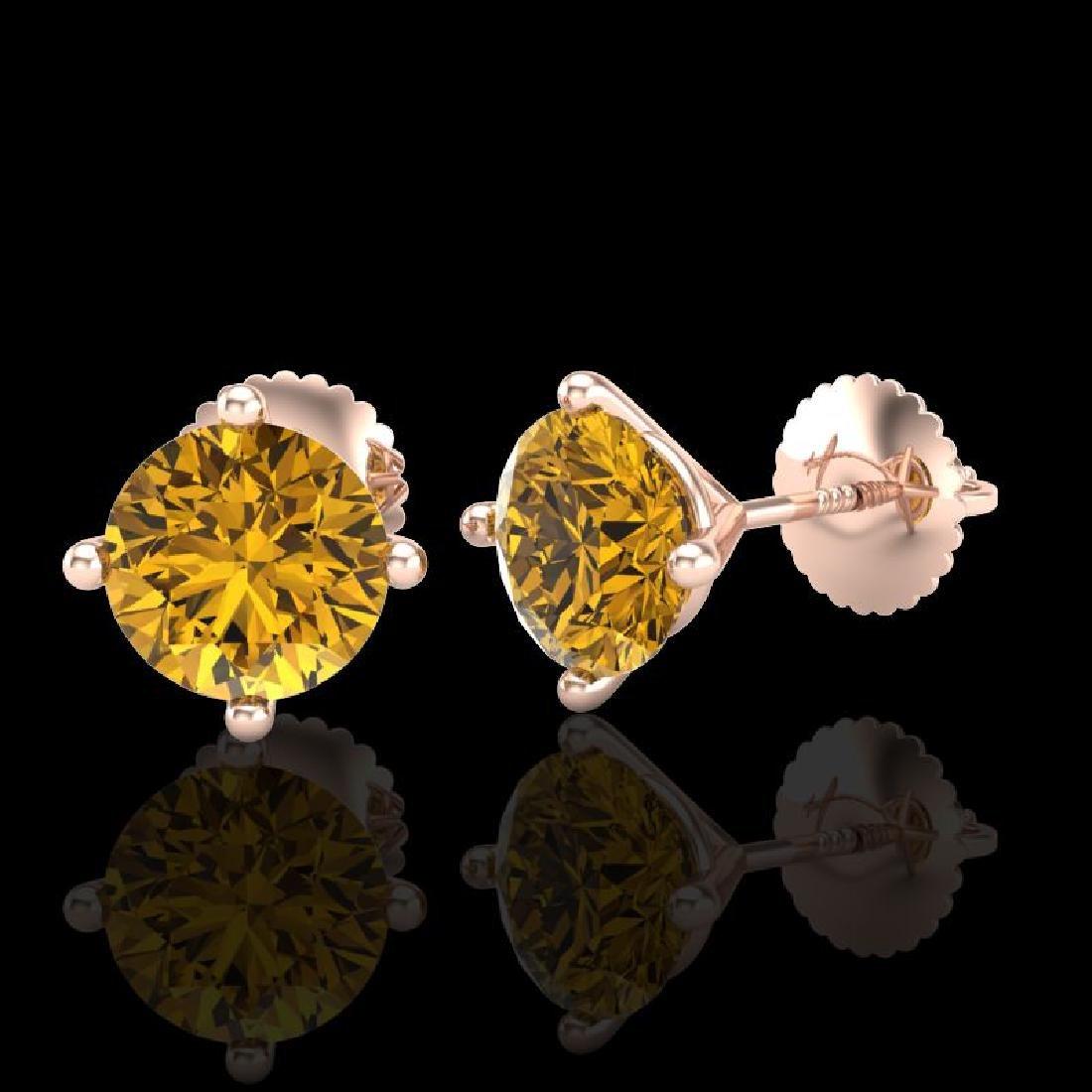 2 CTW Intense Fancy Yellow Diamond Art Deco Stud - 2