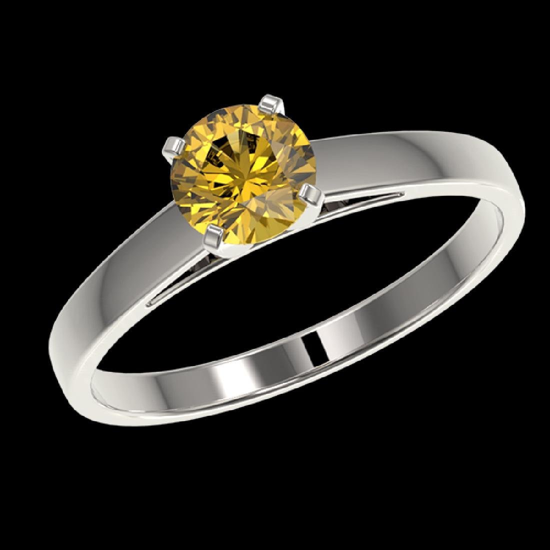 0.77 CTW Certified Intense Yellow SI Diamond Solitaire - 2