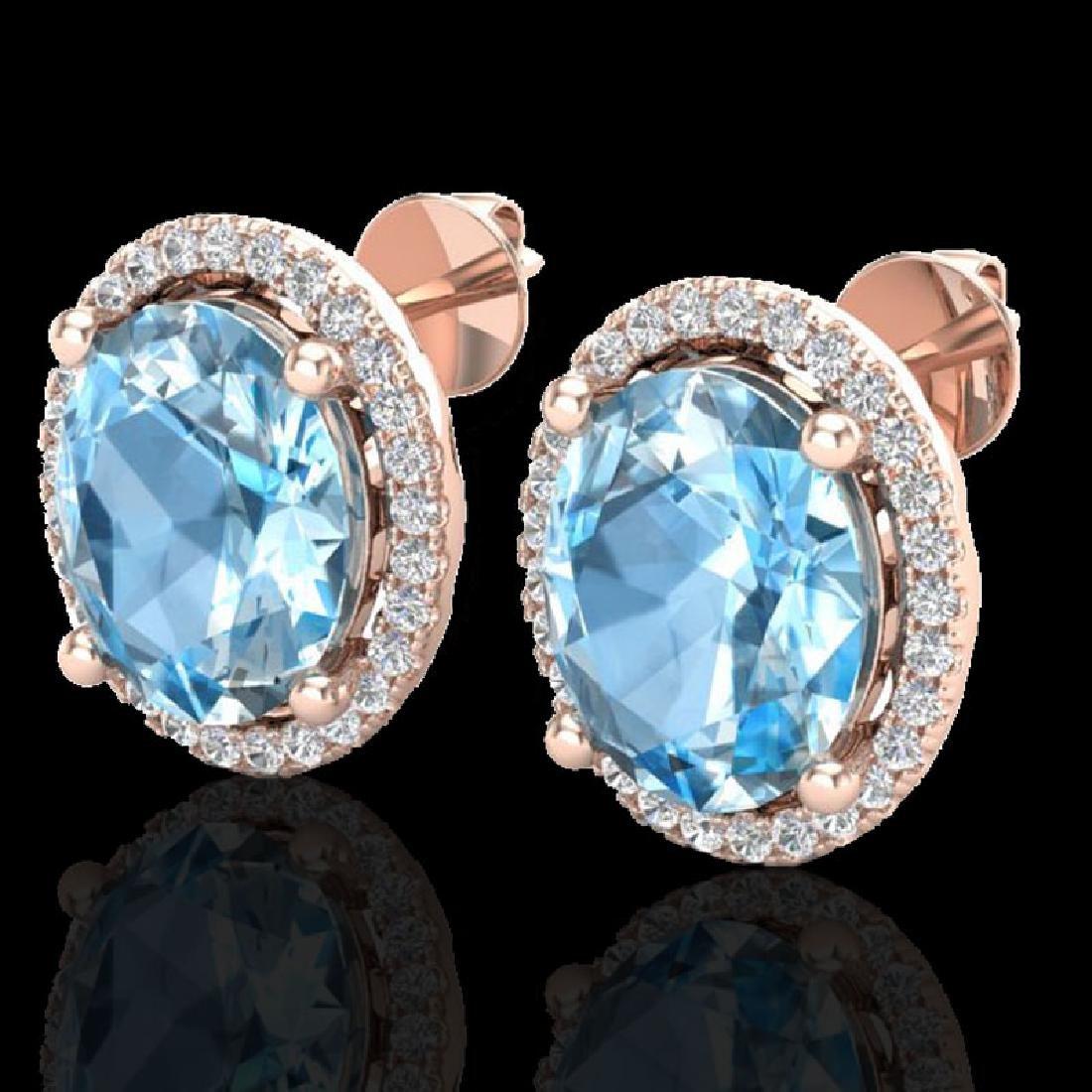 6 CTW Sky Blue Topaz & Micro VS/SI Diamond Earrings