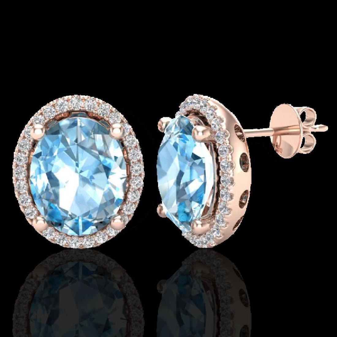 6 CTW Sky Blue Topaz & Micro VS/SI Diamond Earrings - 2