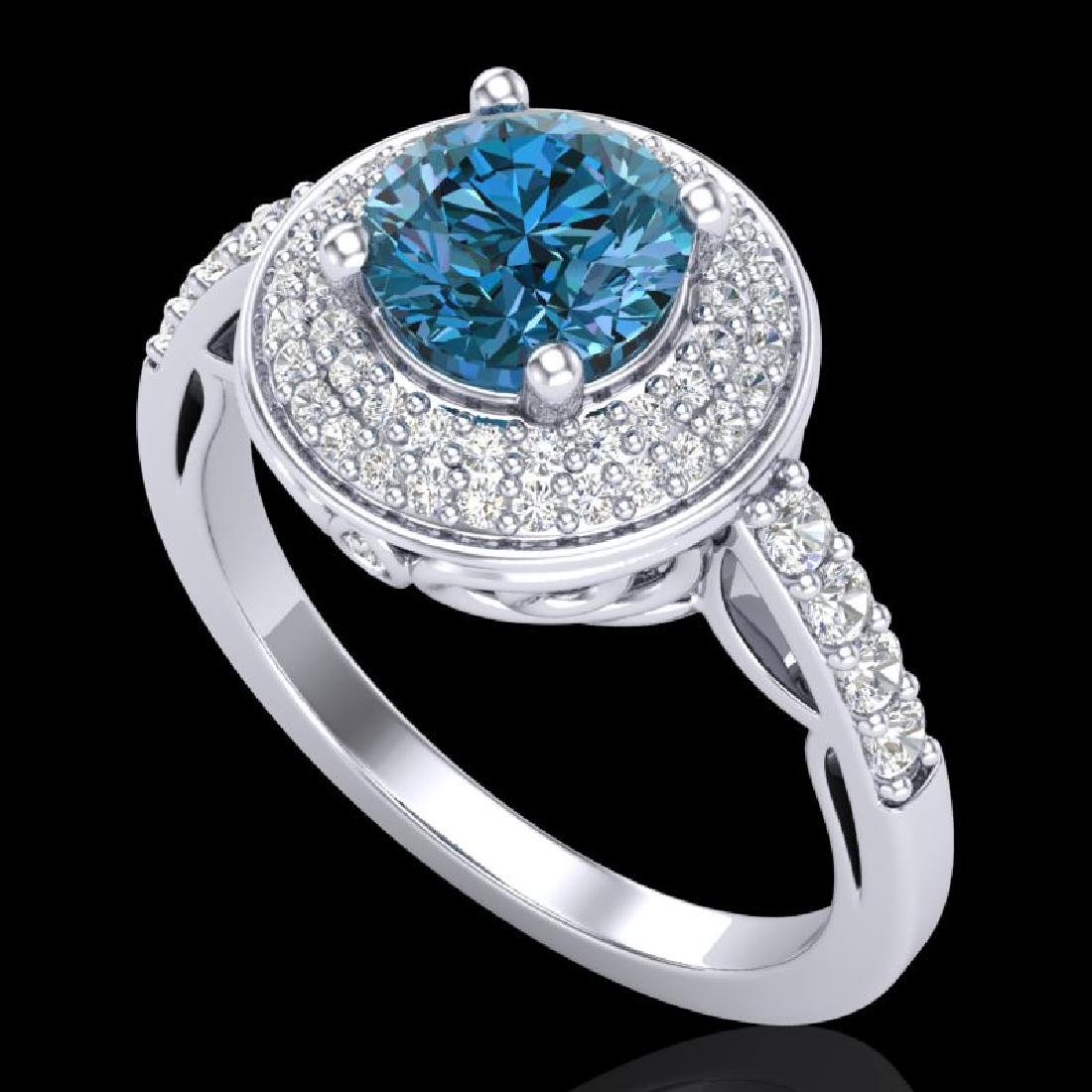 1.7 CTW Intense Blue Diamond Solitaire Engagement Art