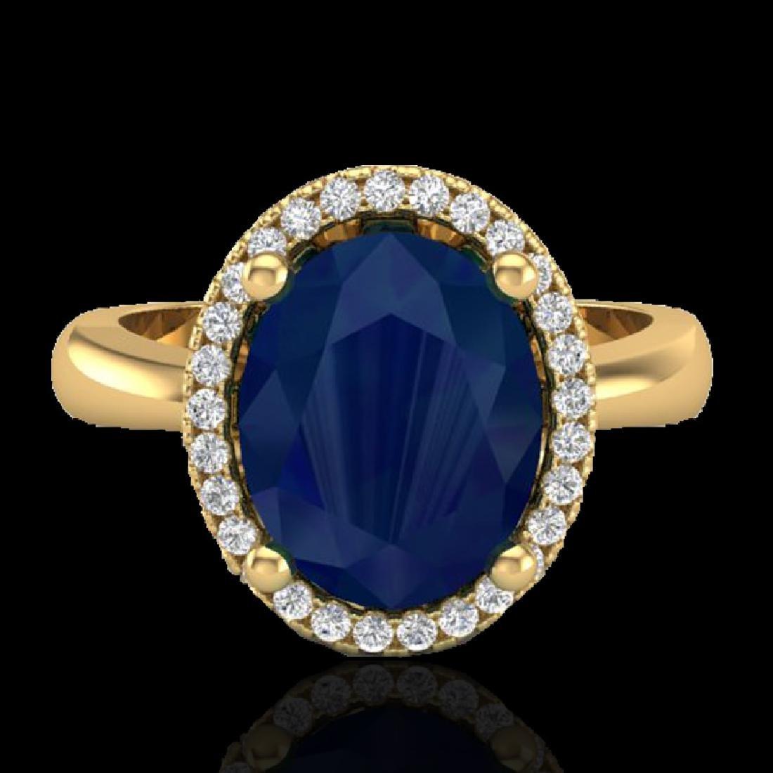 3 CTW Sapphire And Micro Pave VS/SI Diamond Ring Halo