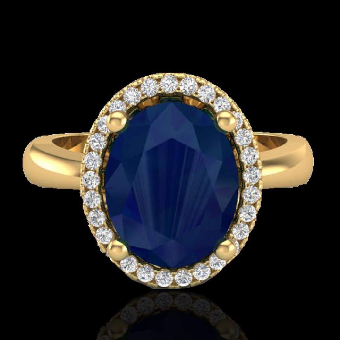 3 CTW Sapphire And Micro Pave VS/SI Diamond Ring Halo