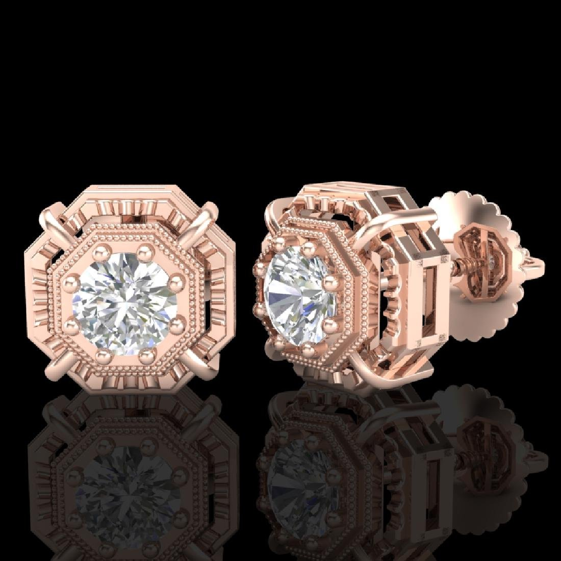 1.11 CTW VS/SI Diamond Solitaire Art Deco Stud Earrings - 2