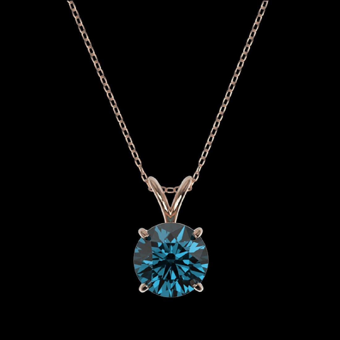 1.55 CTW Certified Intense Blue SI Diamond Solitaire - 2