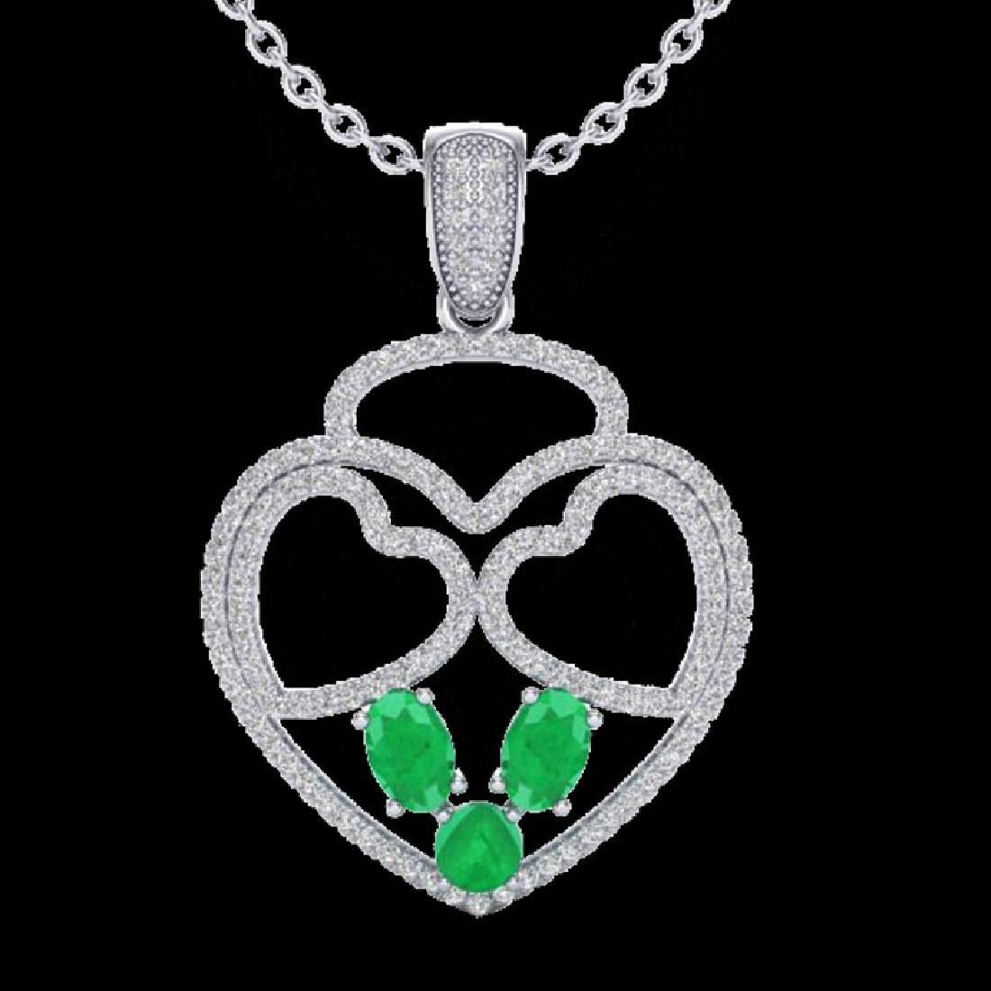 3 CTW Emerald & Micro Pave Designer Inspired Heart - 2