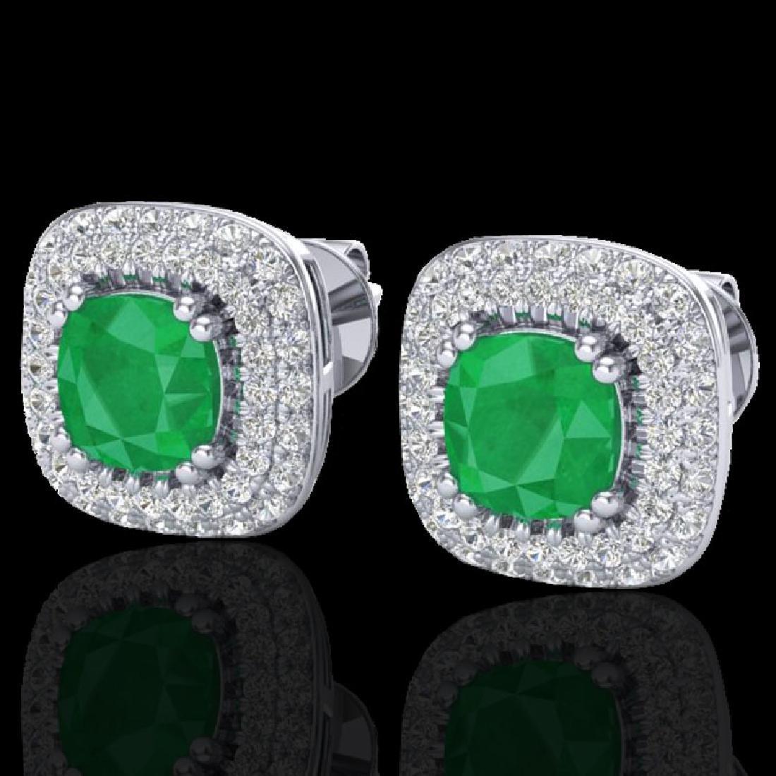2.16 CTW Emerald & Micro VS/SI Diamond Earrings Double