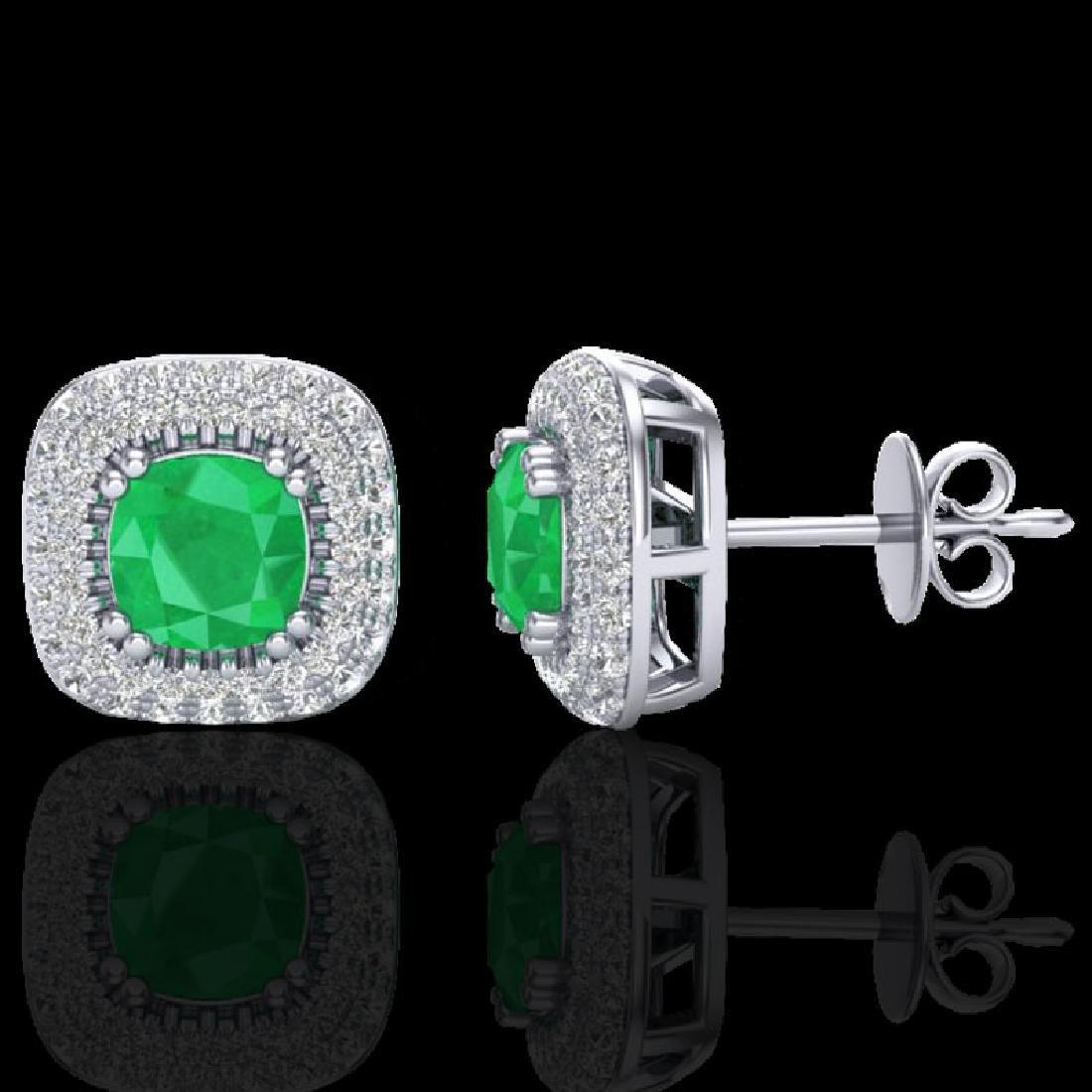 2.16 CTW Emerald & Micro VS/SI Diamond Earrings Double - 2