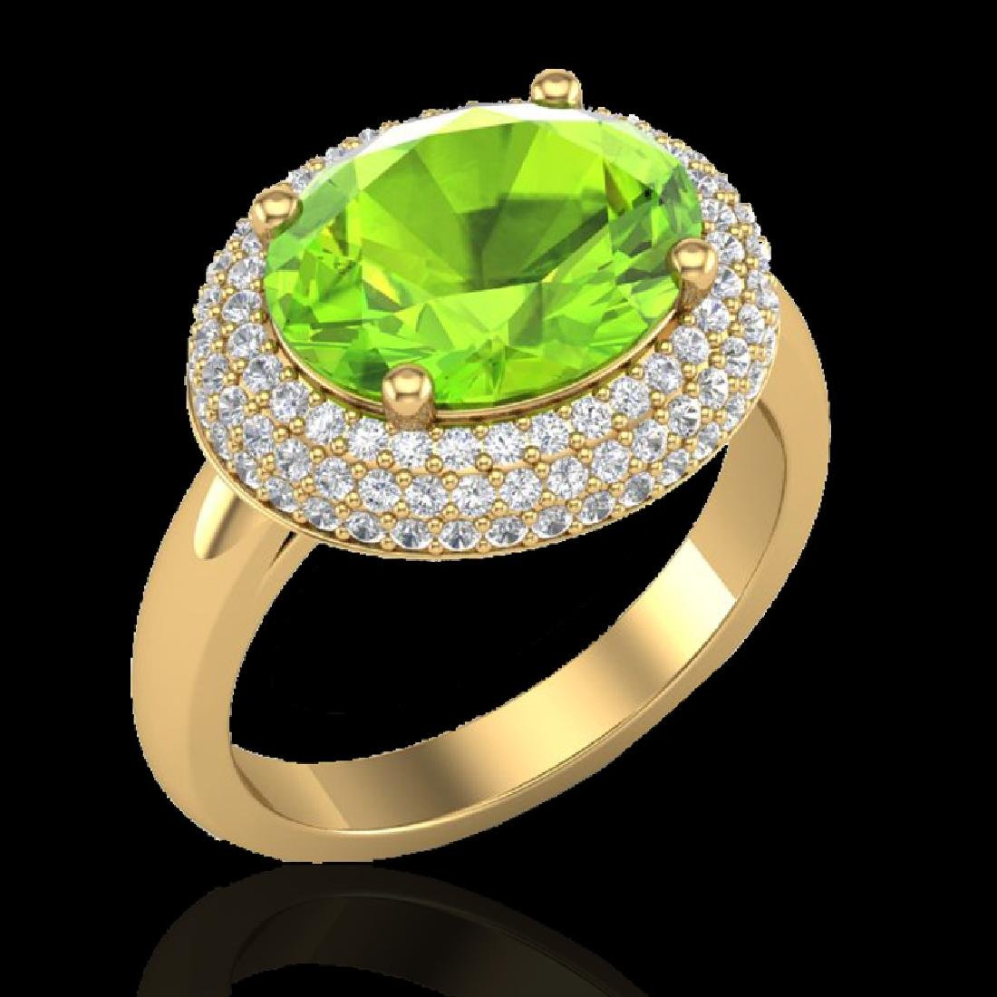 4.50 CTW Peridot & Micro Pave VS/SI Diamond Ring 18K