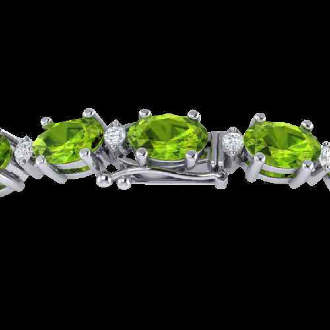 13 CTW Peridot & VS/SI Diamond Eternity Bracelet White