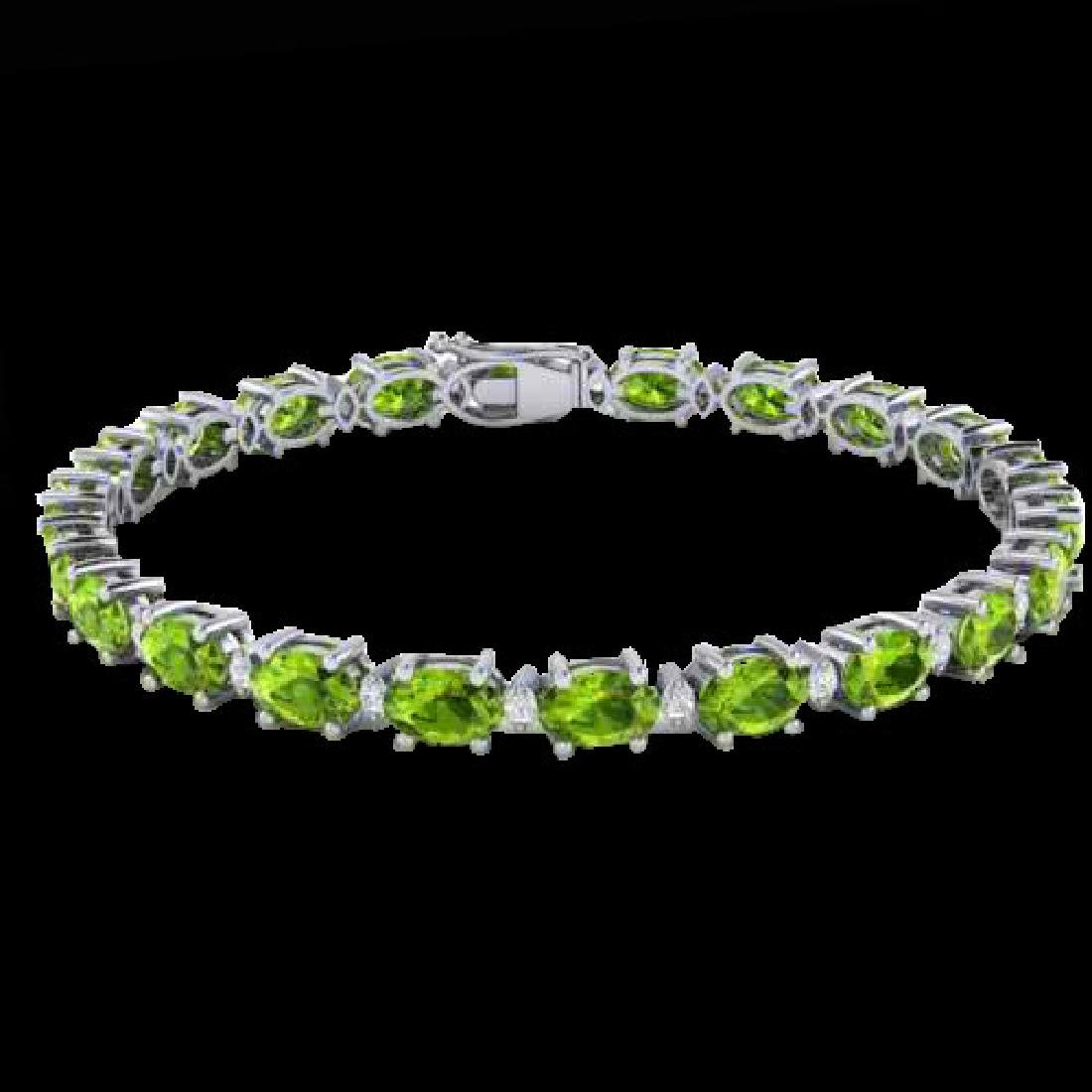 13 CTW Peridot & VS/SI Diamond Eternity Bracelet White - 2