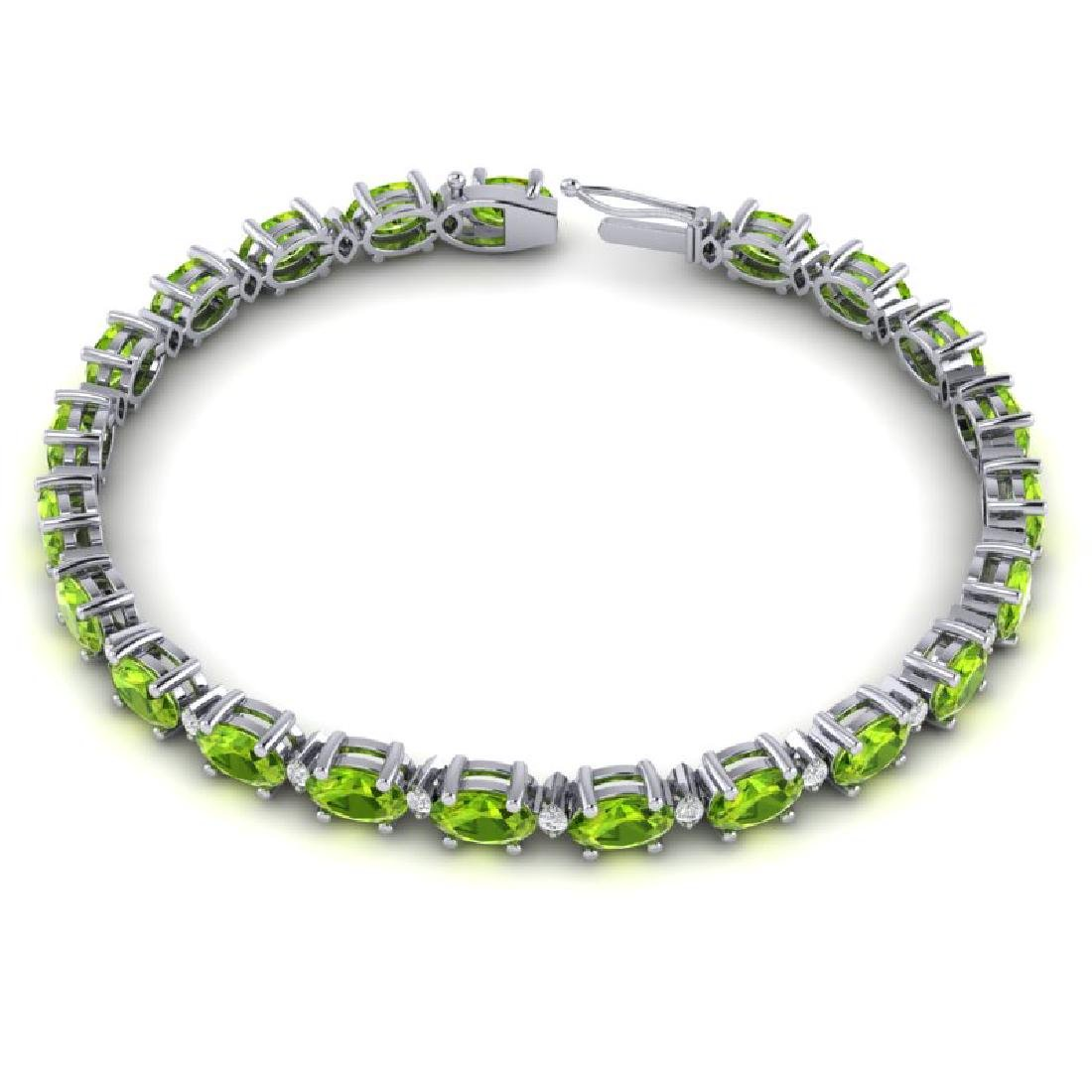 13 CTW Peridot & VS/SI Diamond Eternity Bracelet White - 3