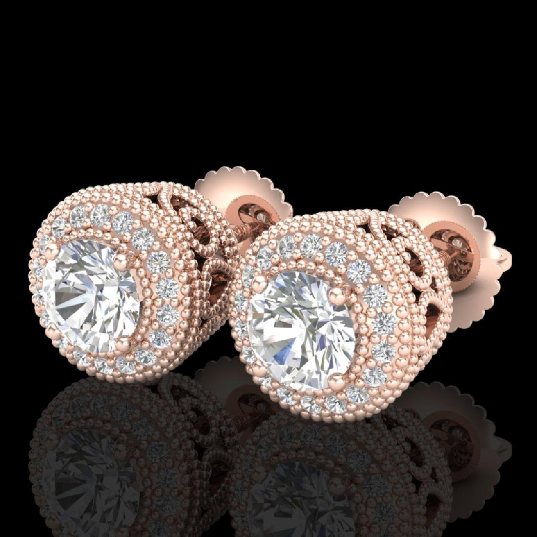 1.55 CTW VS/SI Diamond Solitaire Art Deco Stud Earrings