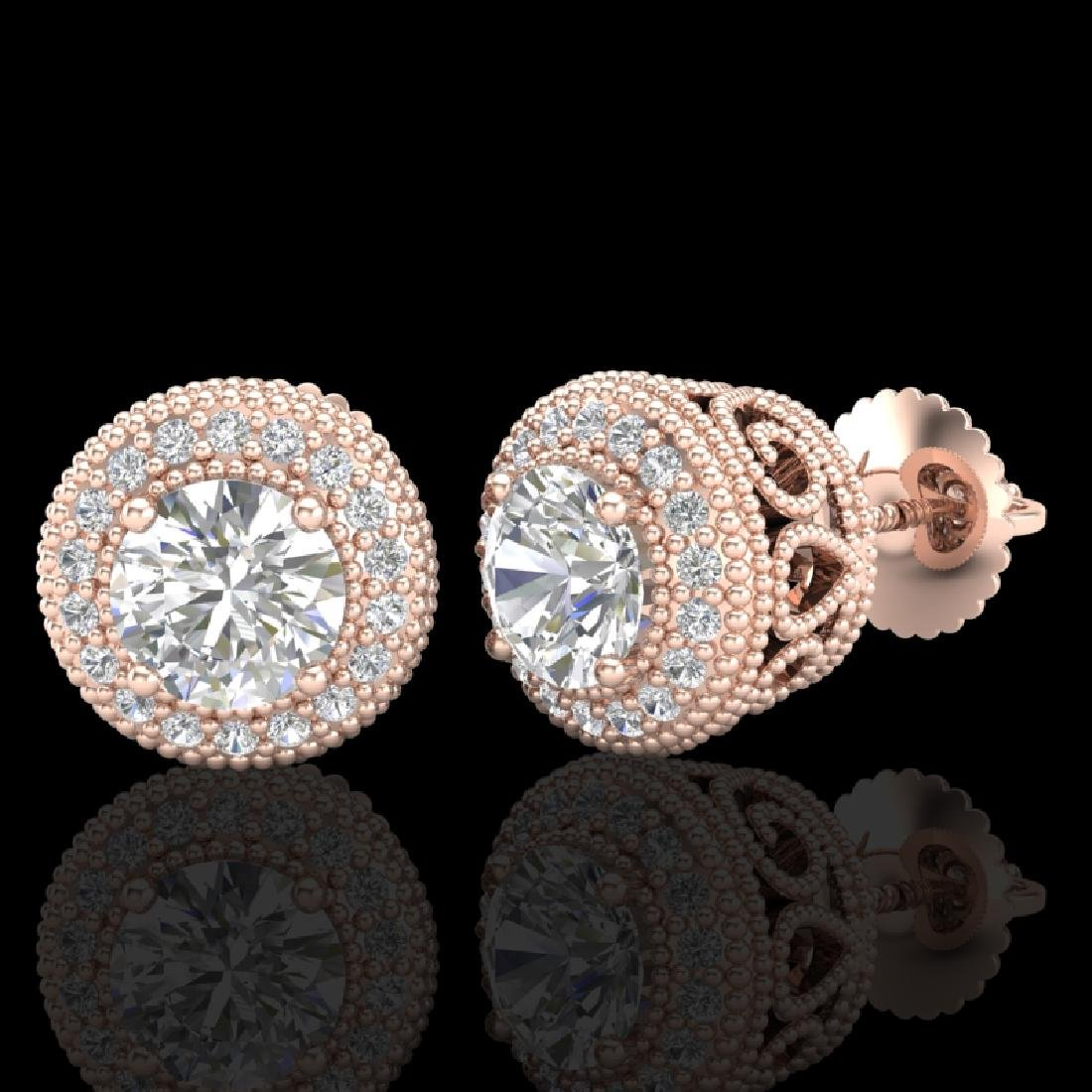 1.55 CTW VS/SI Diamond Solitaire Art Deco Stud Earrings - 2