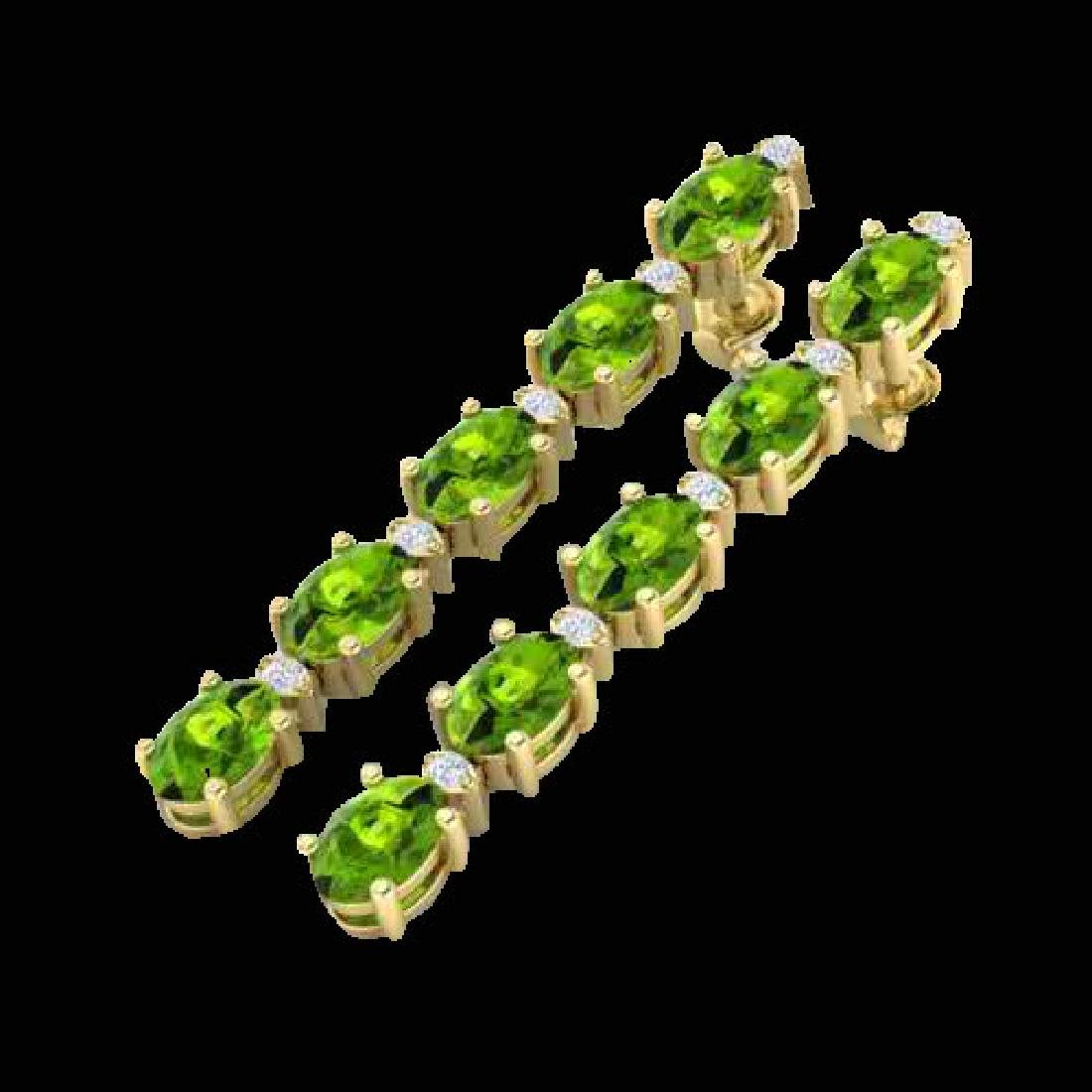 6 CTW Peridot & VS/SI Diamond Tennis Earrings Yellow