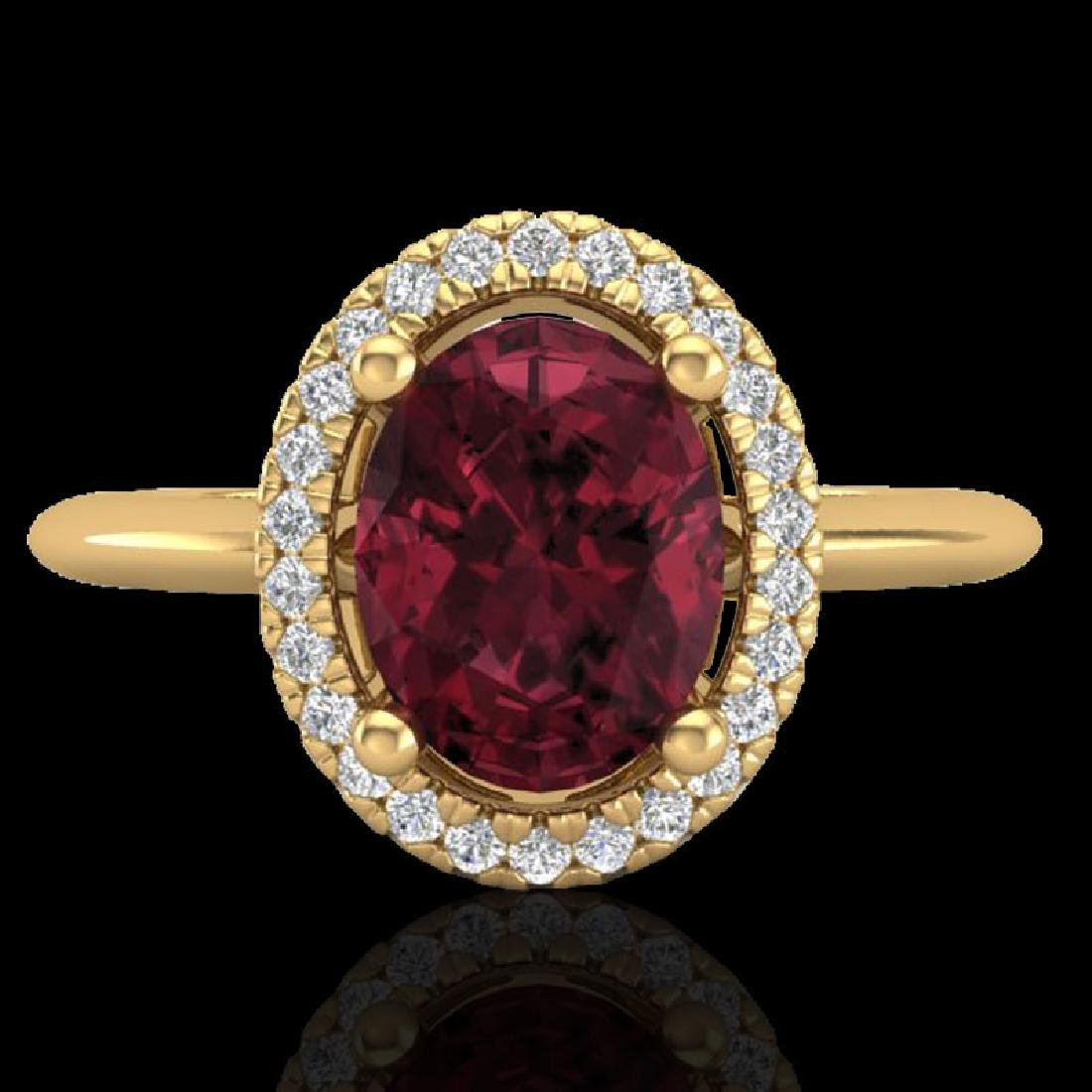 1.75 CTW Garnet & Micro Pave VS/SI Diamond Ring