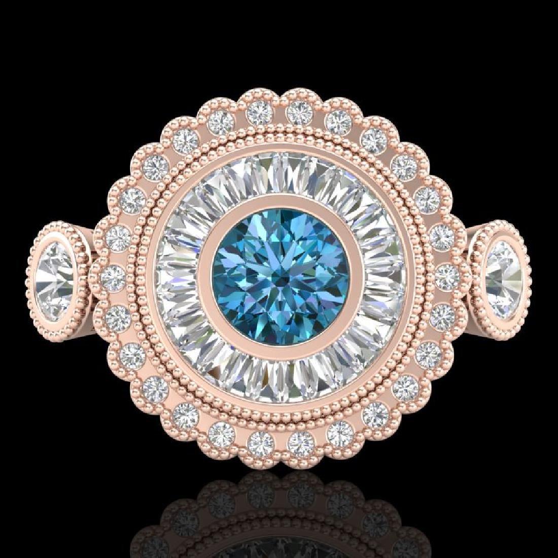 2.62 CTW Intense Blue Diamond Solitaire Art Deco 3 - 2