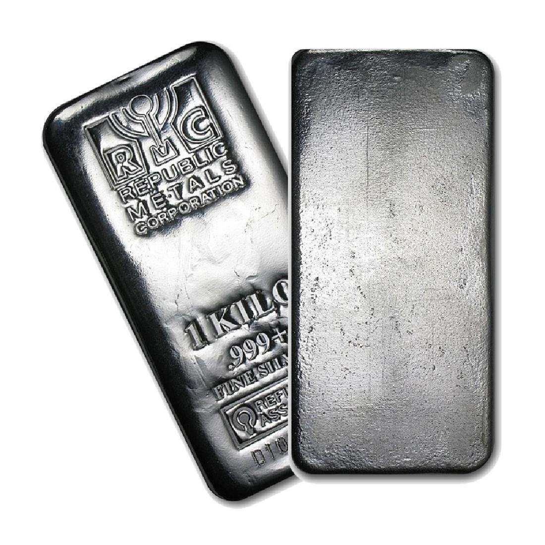One piece 1 kilo 0.999 Fine Silver Bar Republic Metals
