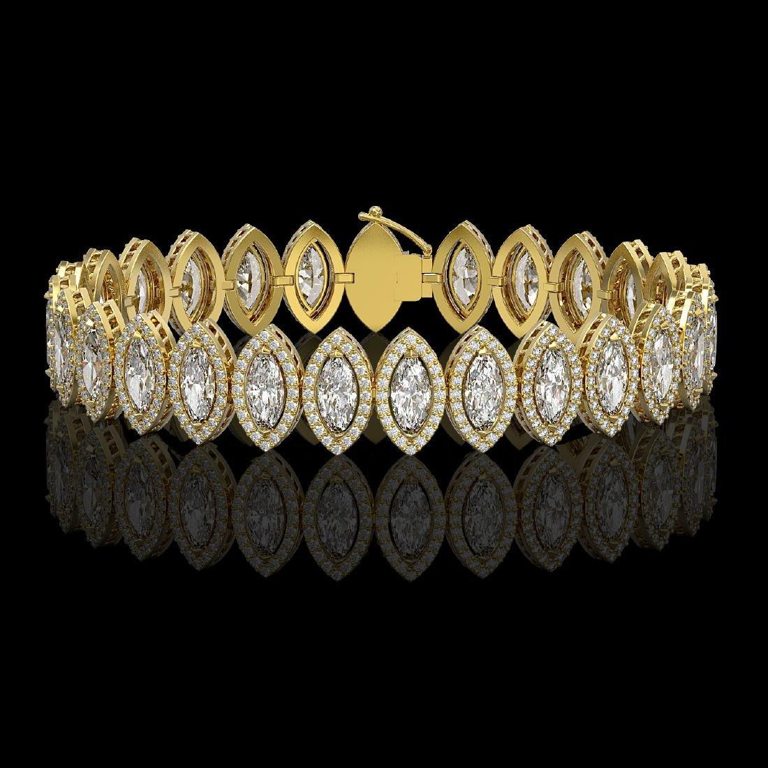 17.55 CTW Marquise Diamond Designer Bracelet 18K Yellow