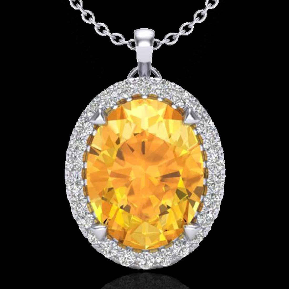 2.75 CTW Citrine & Micro VS/SI Diamond Halo Solitaire