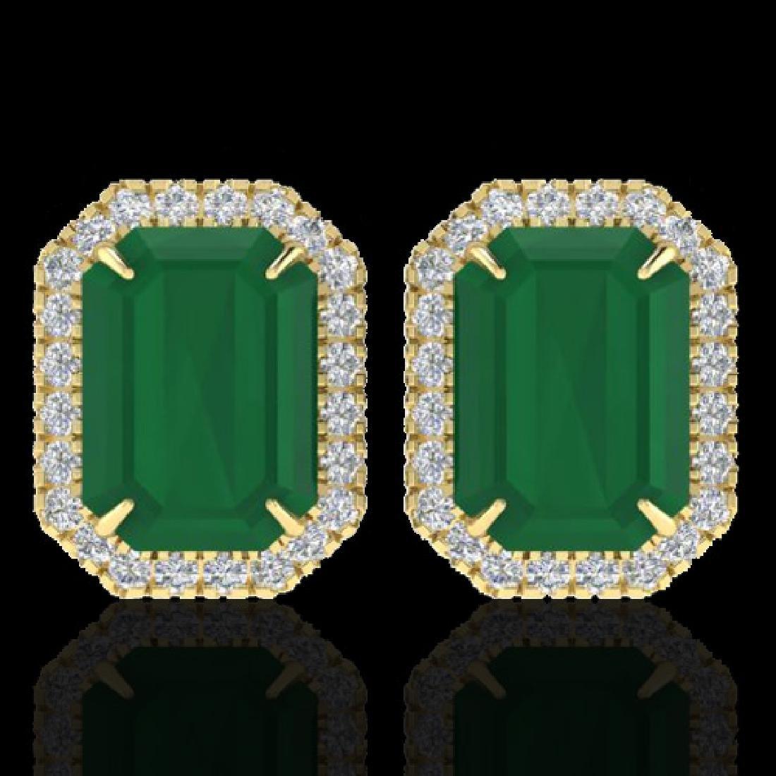 10.40 CTW Emerald & Micro Pave VS/SI Diamond Halo