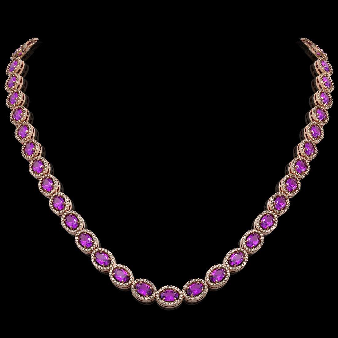 29.38 CTW Amethyst & Diamond Halo Necklace 10K Rose