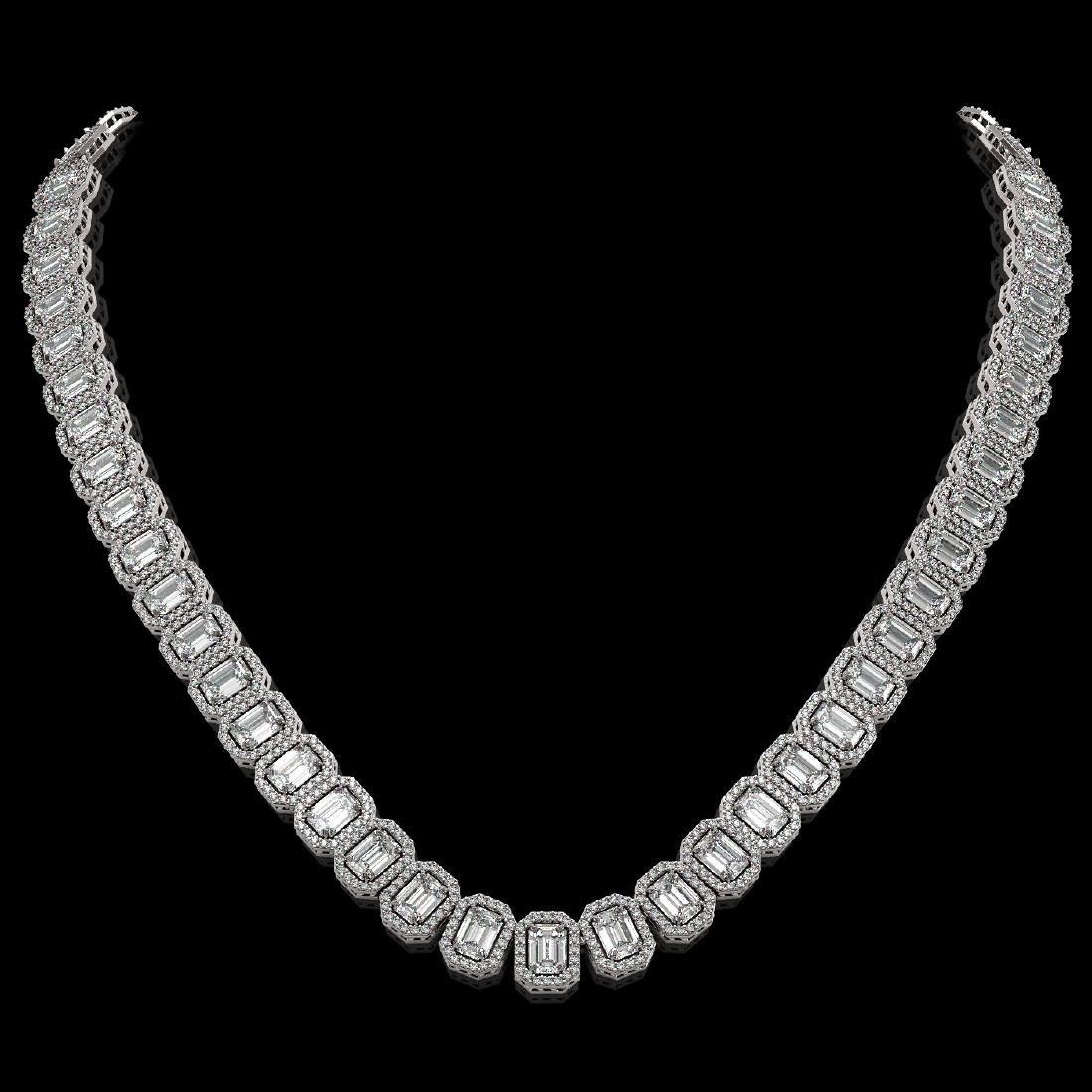 40.3 CTW Emerald Cut Diamond Designer Necklace 18K