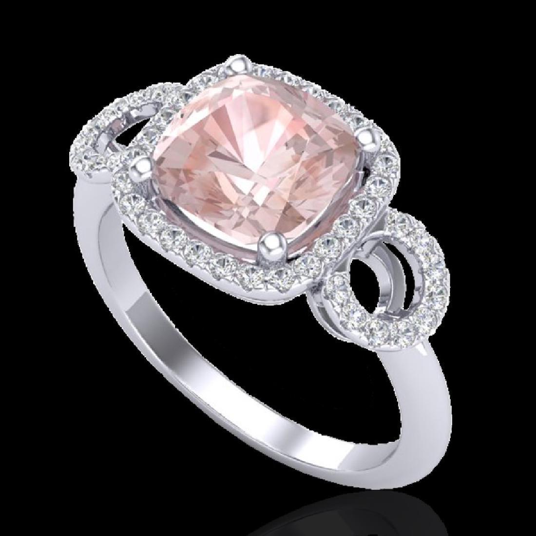 2.75 CTW Morganite & Micro VS/SI Diamond Ring 18K White - 2