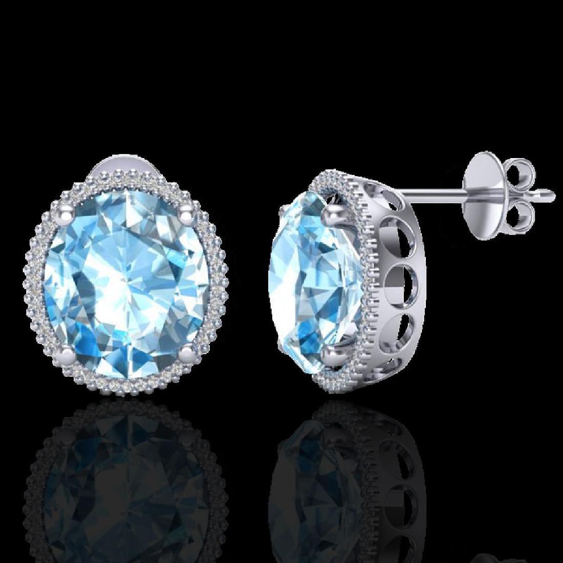 25 CTW Sky Blue Topaz & Micro VS/SI Diamond Halo - 2