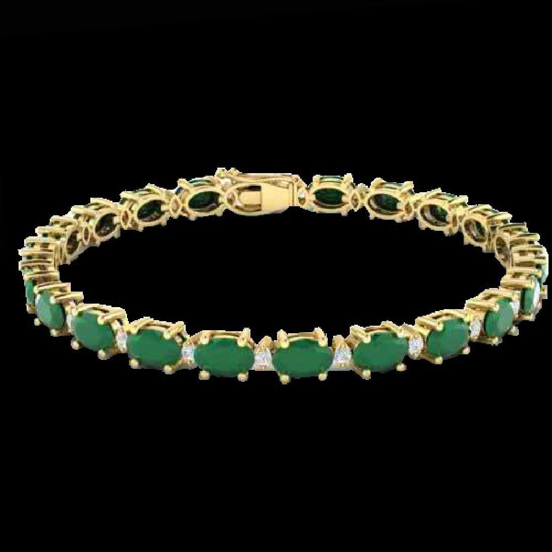 15 CTW Emerald & VS/SI Diamond Eternity Bracelet 10K - 2