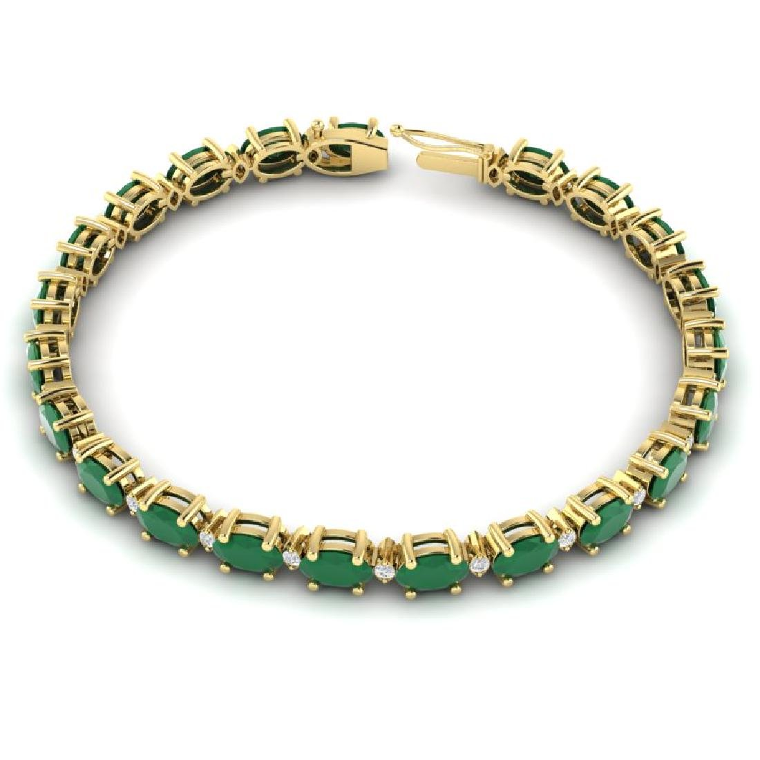 15 CTW Emerald & VS/SI Diamond Eternity Bracelet 10K - 3