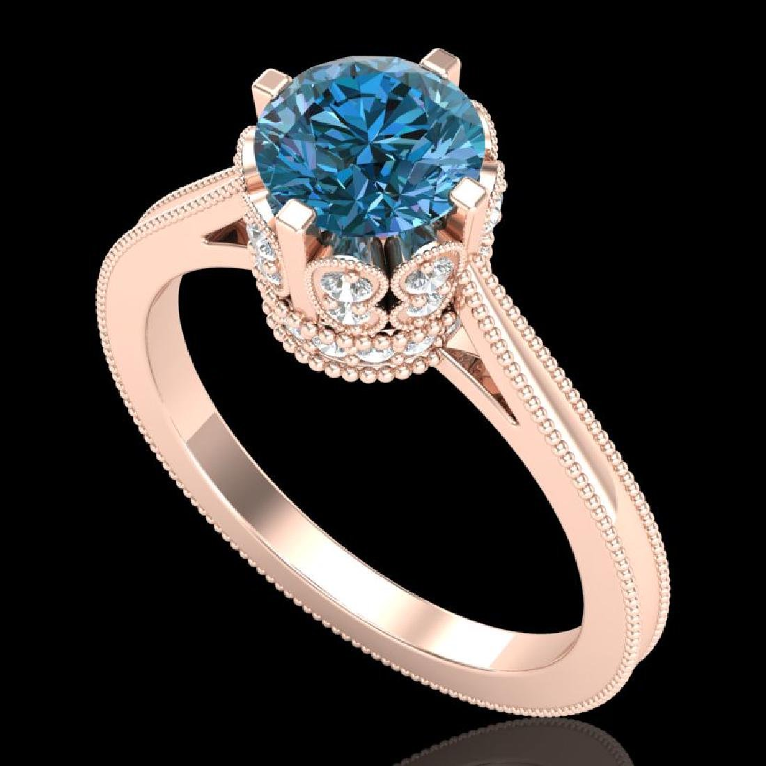 1.5 CTW Fancy Intense Blue Diamond Engagement Art Deco