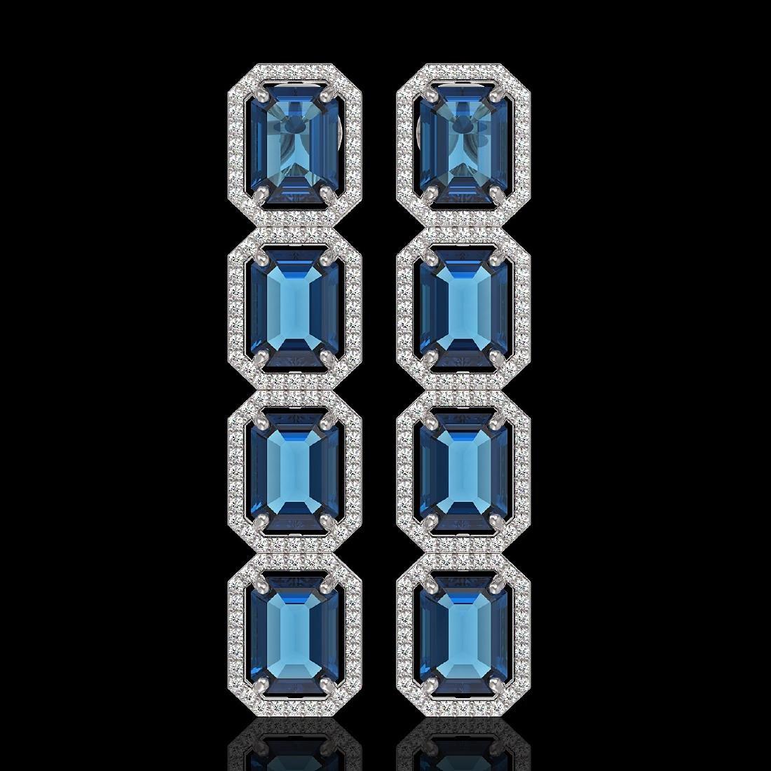18.99 CTW London Topaz & Diamond Halo Earrings 10K