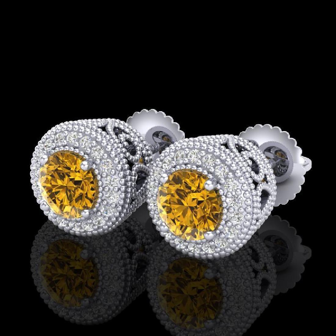 1.55 CTW Intense Fancy Yellow Diamond Art Deco Stud