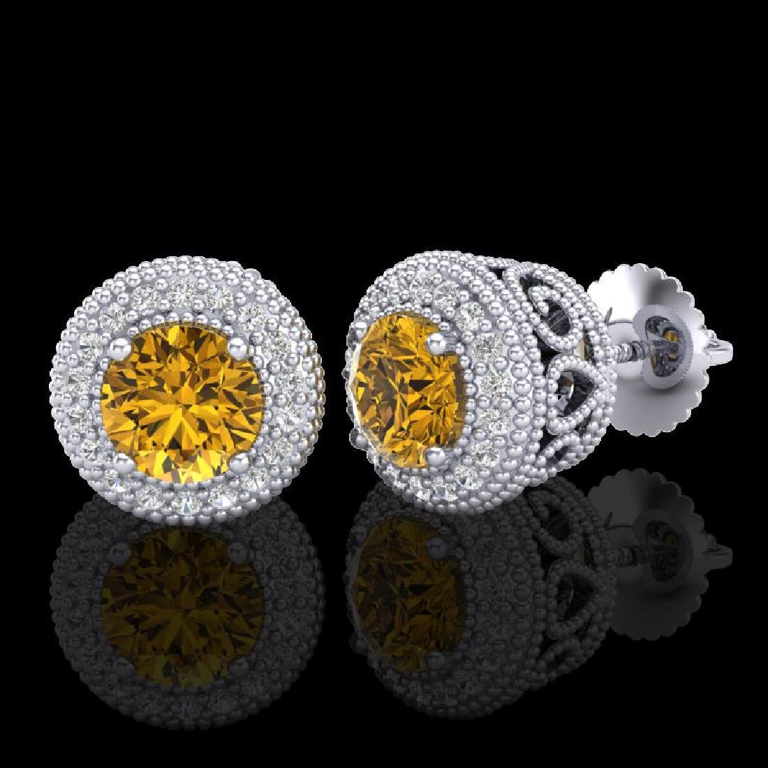 1.55 CTW Intense Fancy Yellow Diamond Art Deco Stud - 2