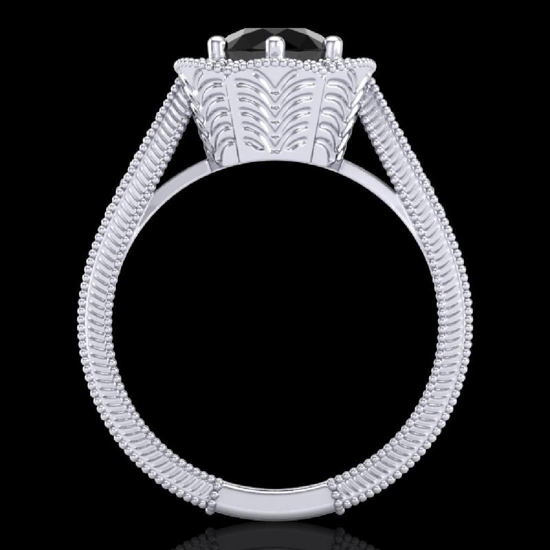 1.33 CTW Fancy Black Diamond Solitaire Engagement Art - 3