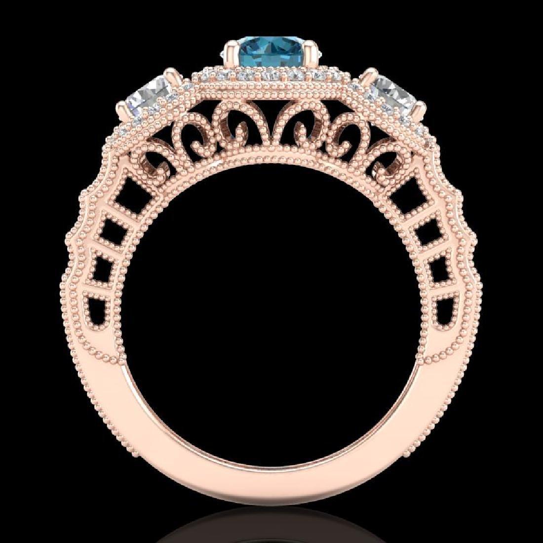 2.16 CTW Intense Blue Diamond Solitaire Art Deco 3 - 3