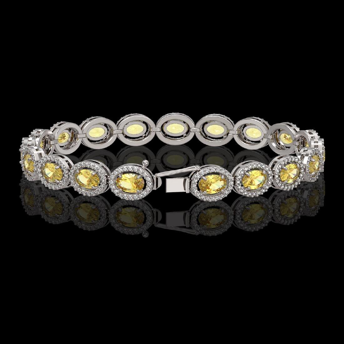 12.73 CTW Fancy Citrine & Diamond Halo Bracelet 10K - 2