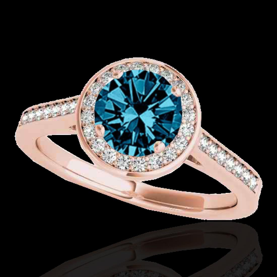 1.33 CTW SI Certified Fancy Blue Diamond Solitaire Halo