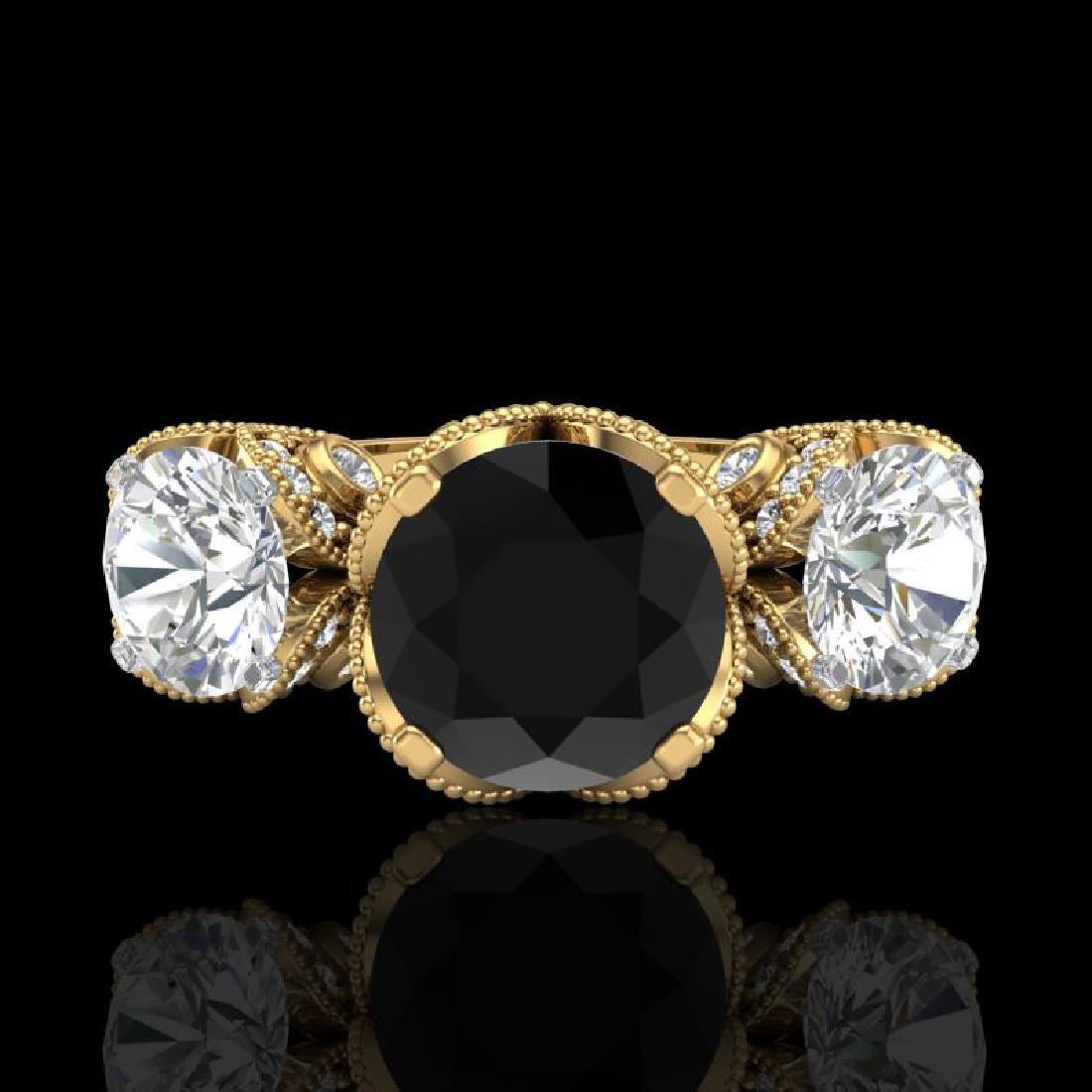 3 CTW Fancy Black Diamond Solitaire Art Deco 3 Stone