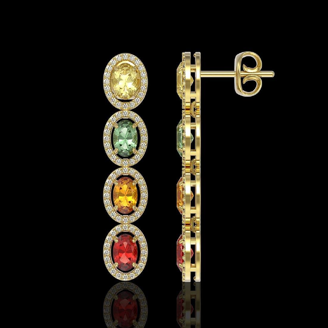 6.09 CTW Multi Color Sapphire & Diamond Halo Earrings - 2