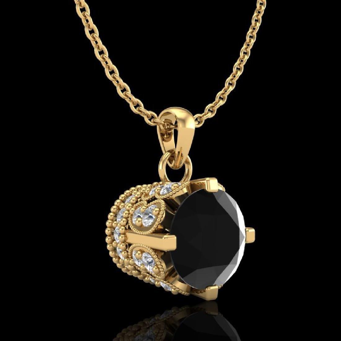 0.85 CTW Fancy Black Diamond Solitaire Art Deco Stud - 3
