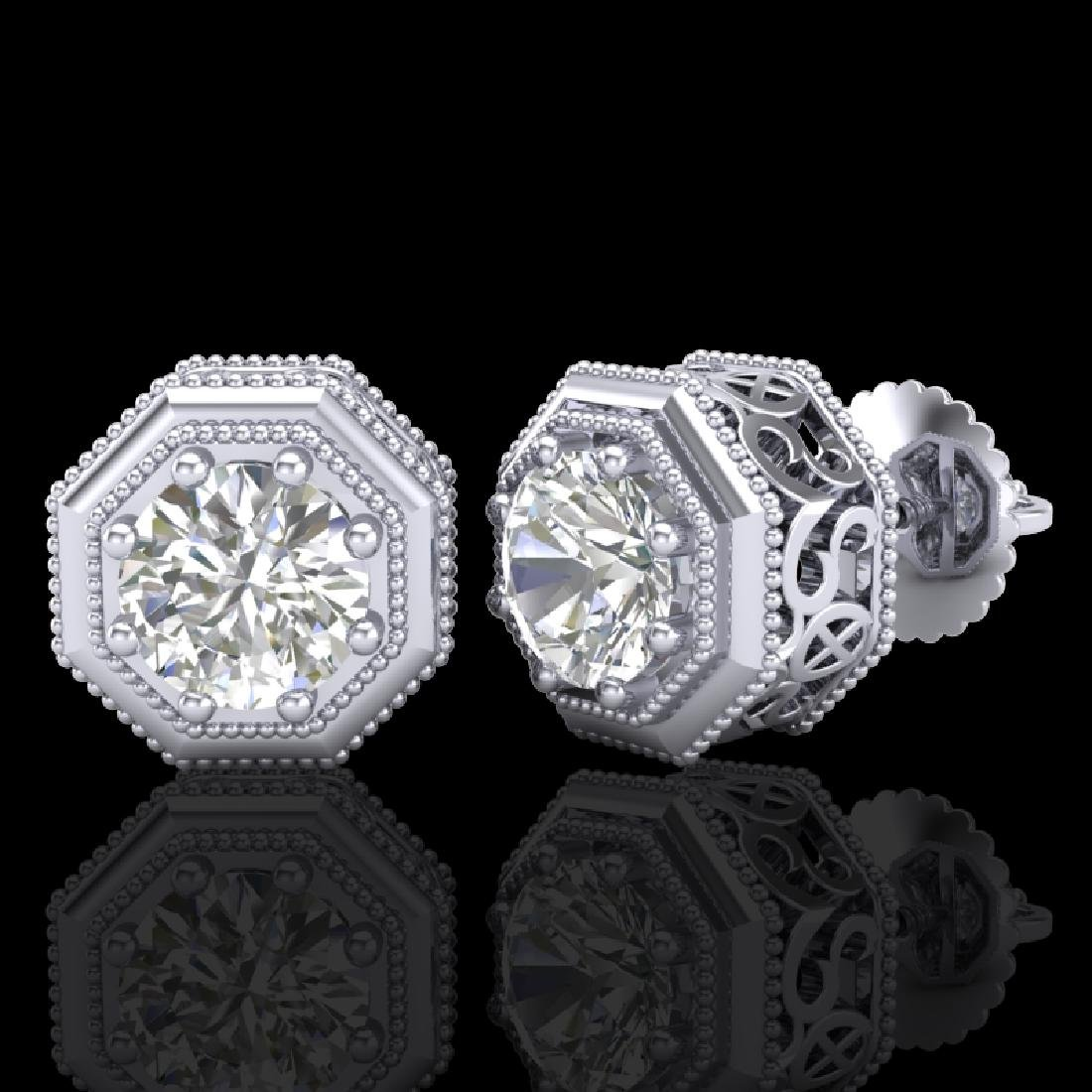 1.07 CTW VS/SI Diamond Solitaire Art Deco Stud Earrings - 2