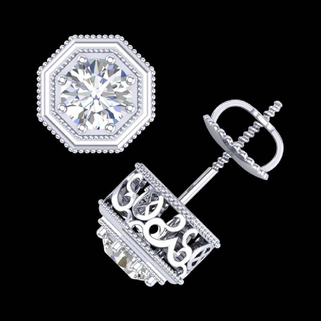 1.07 CTW VS/SI Diamond Solitaire Art Deco Stud Earrings - 3