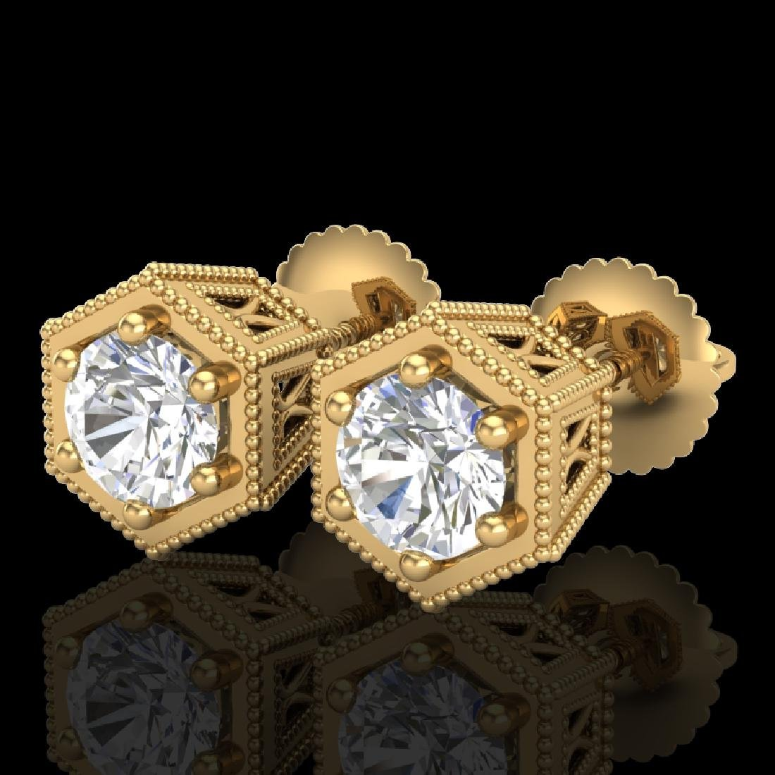 1.15 CTW VS/SI Diamond Solitaire Art Deco Stud Earrings