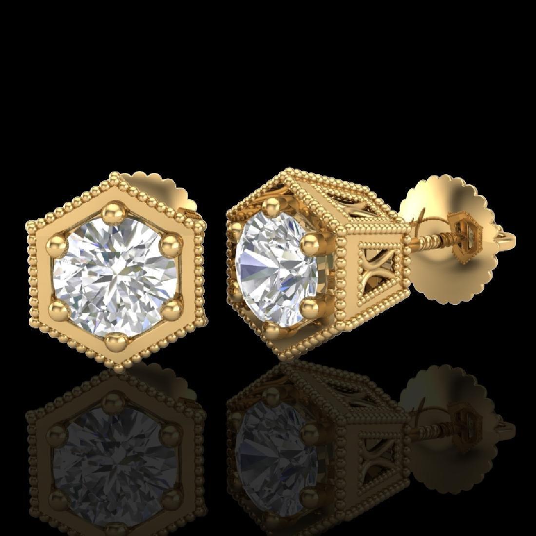 1.15 CTW VS/SI Diamond Solitaire Art Deco Stud Earrings - 2