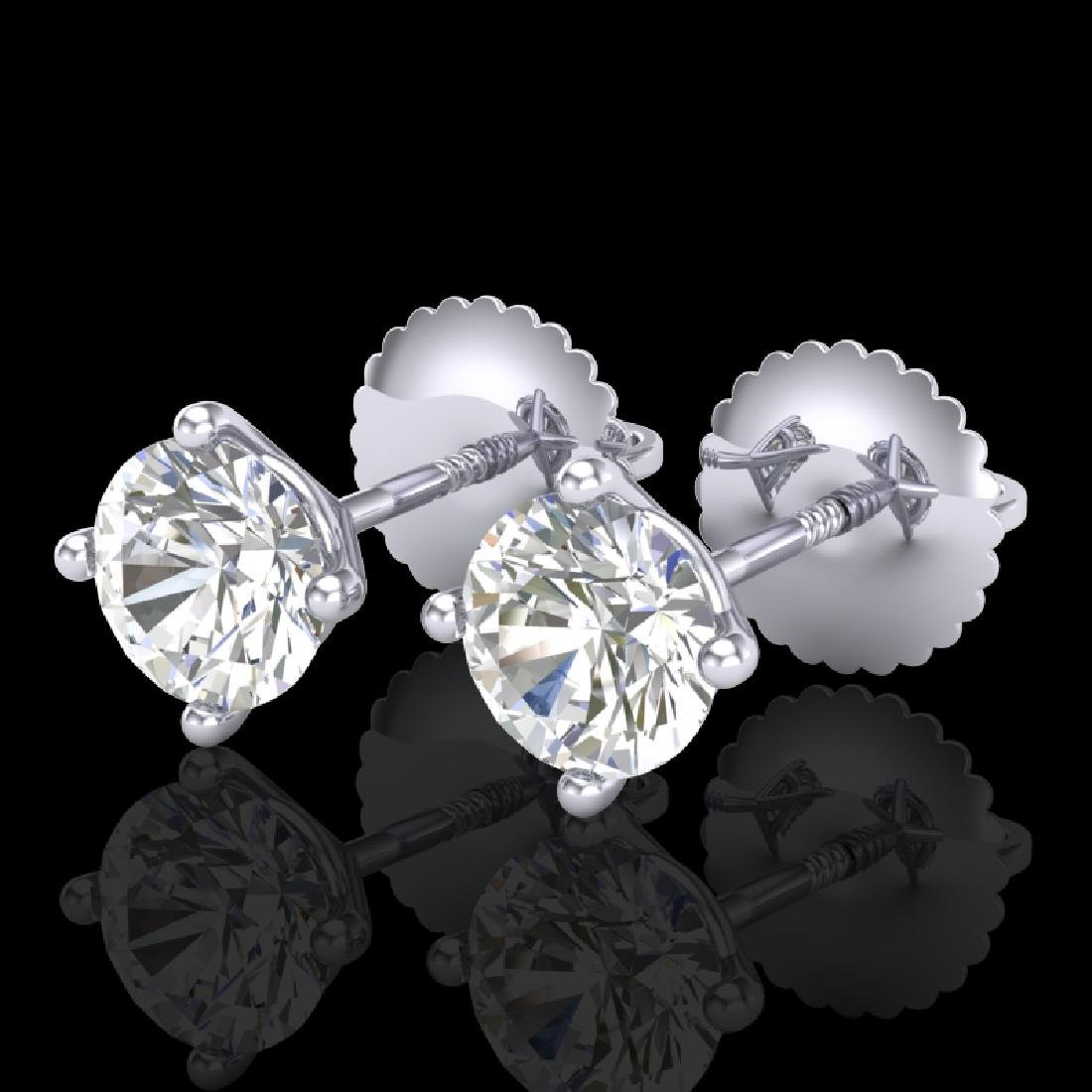 1.01 CTW VS/SI Diamond Solitaire Art Deco Stud Earrings