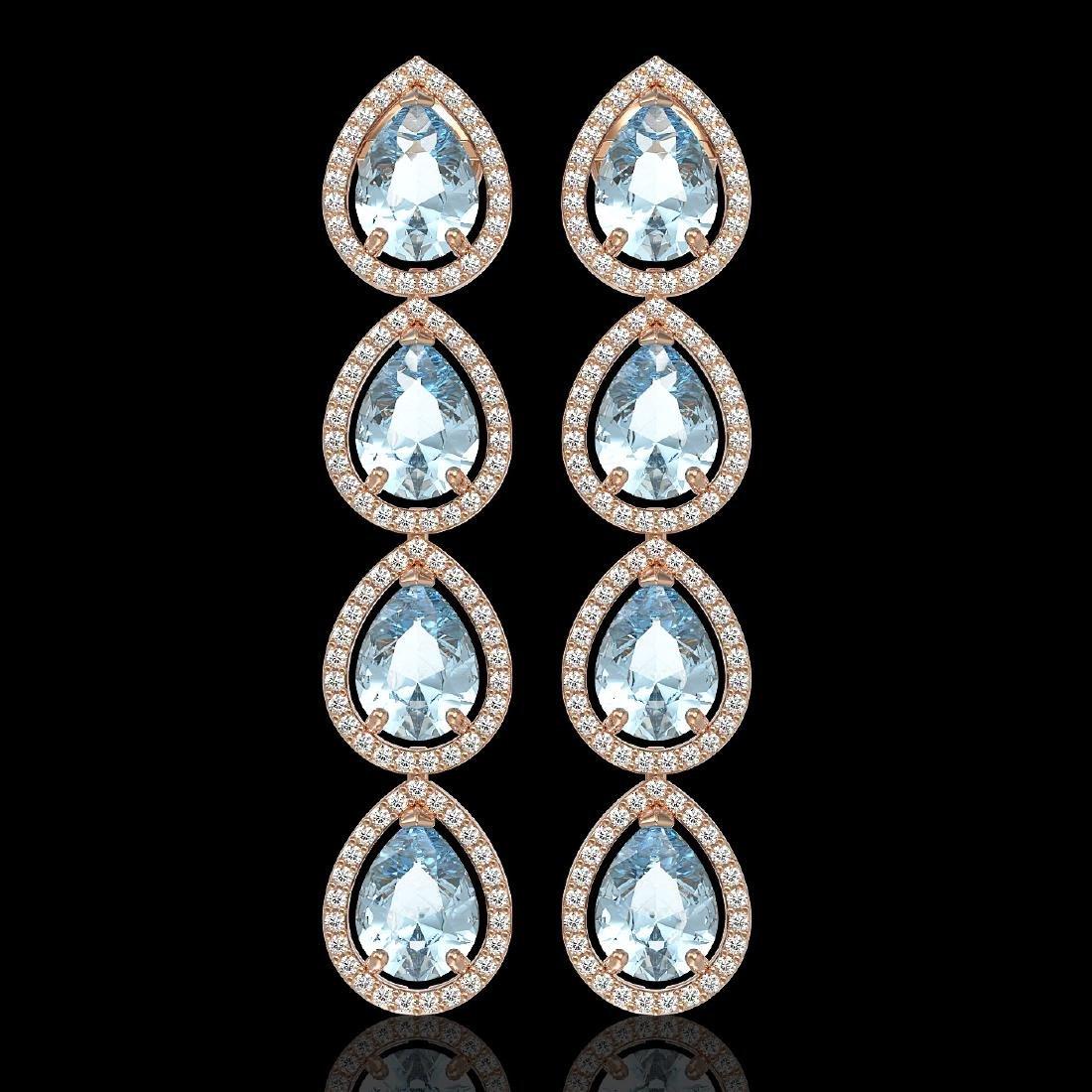 10.56 CTW Aquamarine & Diamond Halo Earrings 10K Rose